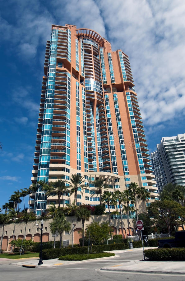 South Florida Building. Colorful multistory building in South Florida stock images
