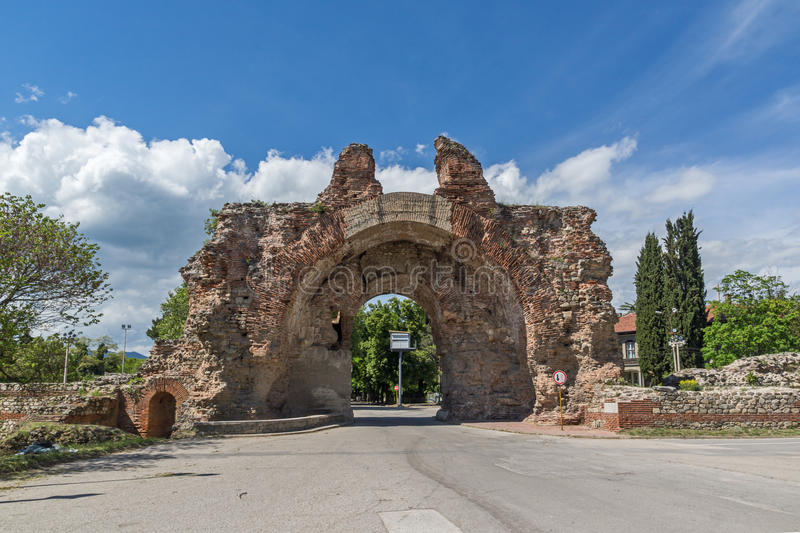 The South gate known as The Camels of ancient roman, fortifications in Diocletianopolis, town of Hisarya,Bulgaria. The South gate known as The Camels of ancient royalty free stock photos