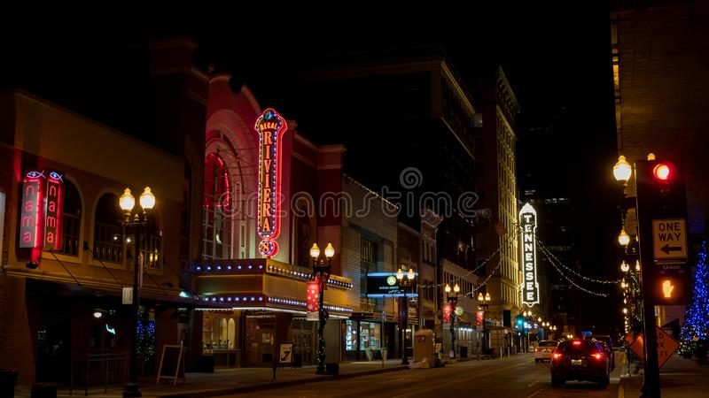 South Gay Street at night in Downtown Knoxville Tennessee USA. Downtown commercial district with bars and restaurant`s in Knoxville Tennessee. Home of the royalty free stock photos