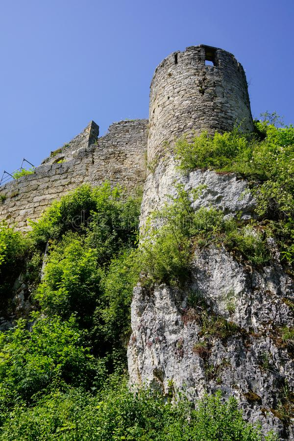 Castle ruin in wilderness of swabian alb. South german travel destinations castle ruin in wilderness of swabian alb stock photography
