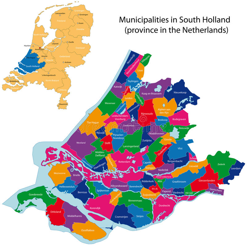 South Holland - province of the Netherlands. Administrative division of the Netherlands. Map of South Holland with municipalities royalty free illustration
