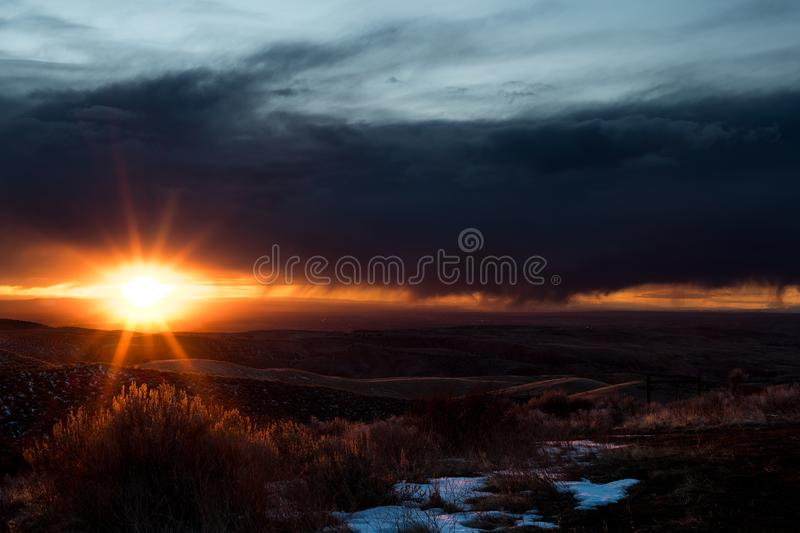 South Idaho storks and sunset over the desert with a formed star stock photos