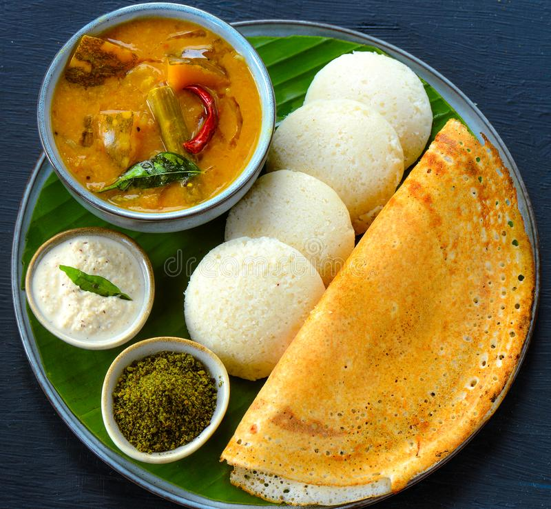 Free South Indian Breakfast -Idli Dosa Chutney Stock Photos - 158574513