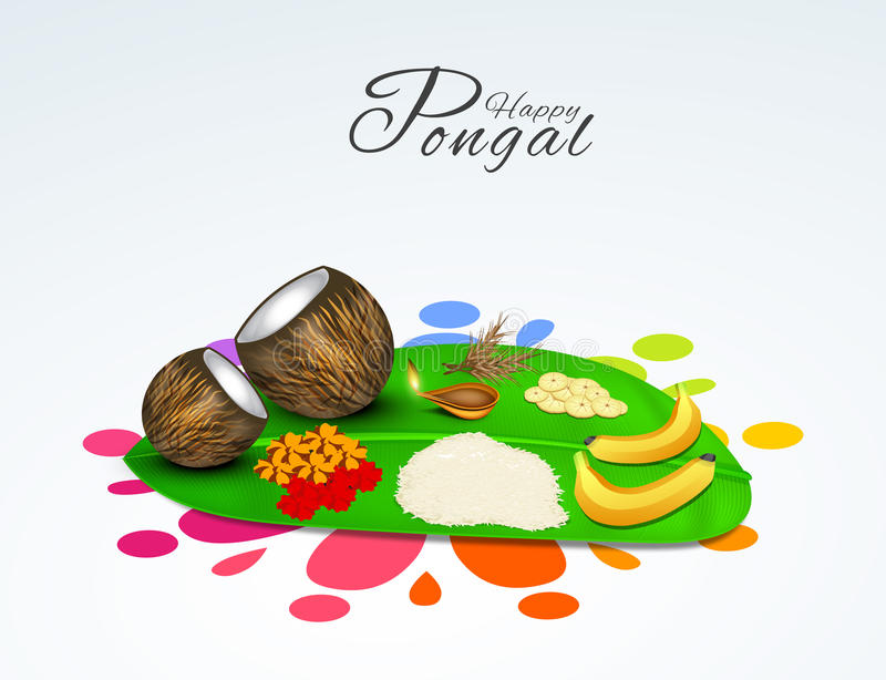 South Indian festival, Happy Pongal celebrations concept. South Indian harvesting festival, Happy Pongal celebrations with religious offerings on banana leaf on stock illustration