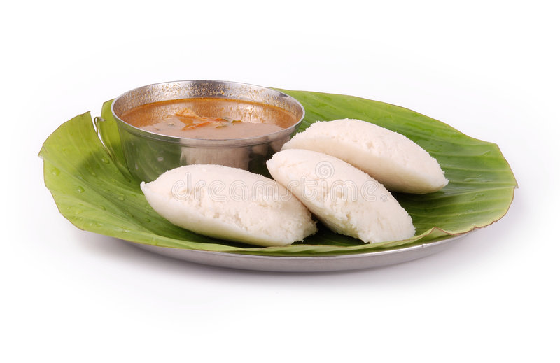 South indian food. Idly with side dish on isolated background stock photo