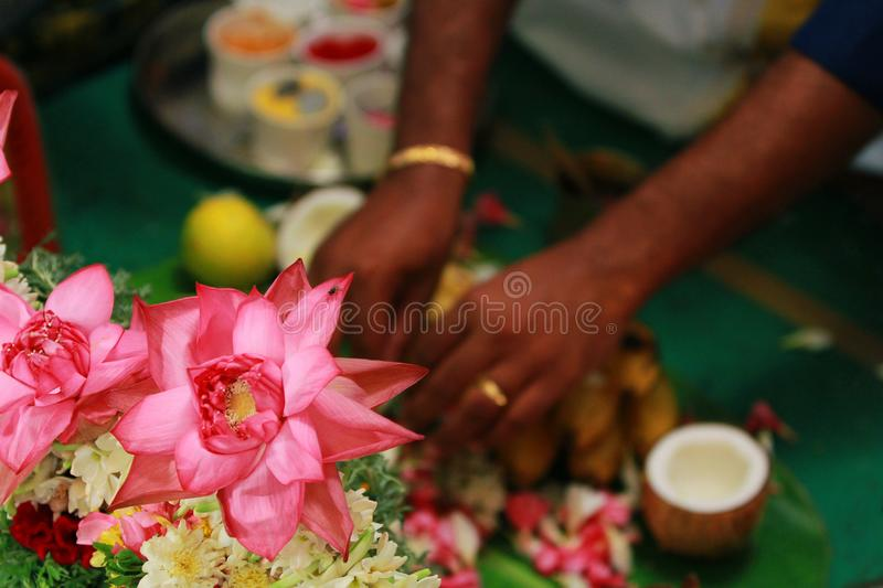 South Indian hindu wedding rituals with colorful flowers. royalty free stock photos