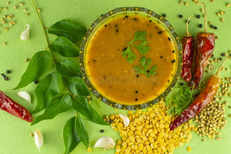 South Indian Traditional Dal with ingrediants. Indian sambar, sambar spices, south indian dal, dal with ingredients, spices, south indian food, dal, dal recipe stock photos