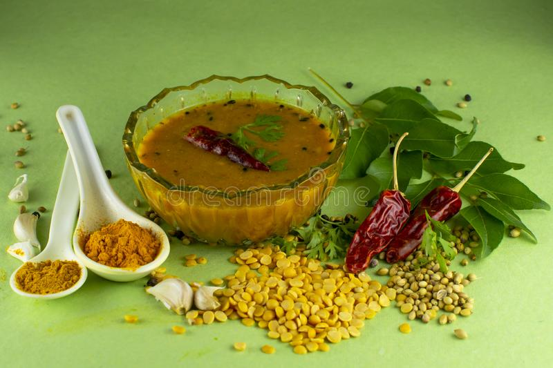 South Indian Traditional Dal with ingrediants. Indian sambar, sambar spices, south indian dal, dal with ingredients, spices, south indian food, dal, dal recipe stock image