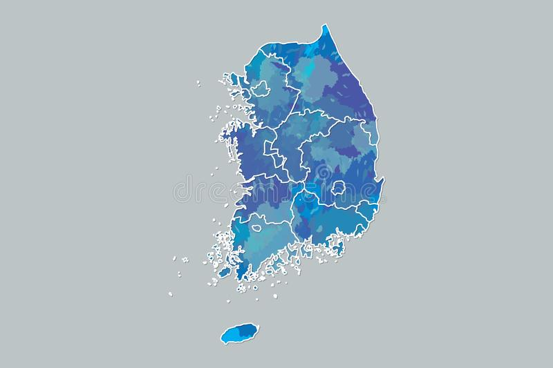 South Korea watercolor map vector illustration of blue color with border lines of different provinces on dark background. Using paint brush in page stock illustration