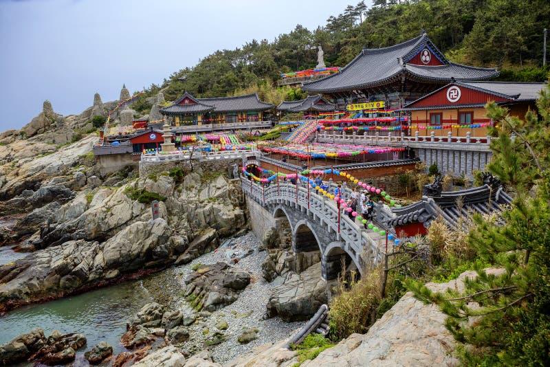 Busan, South Korea, Haedong Yonggungsa Temple. South Korea Buddhist Haedong Yonggungsa Temple is located on a stone cliff of unusual shape above the sea shore royalty free stock photography