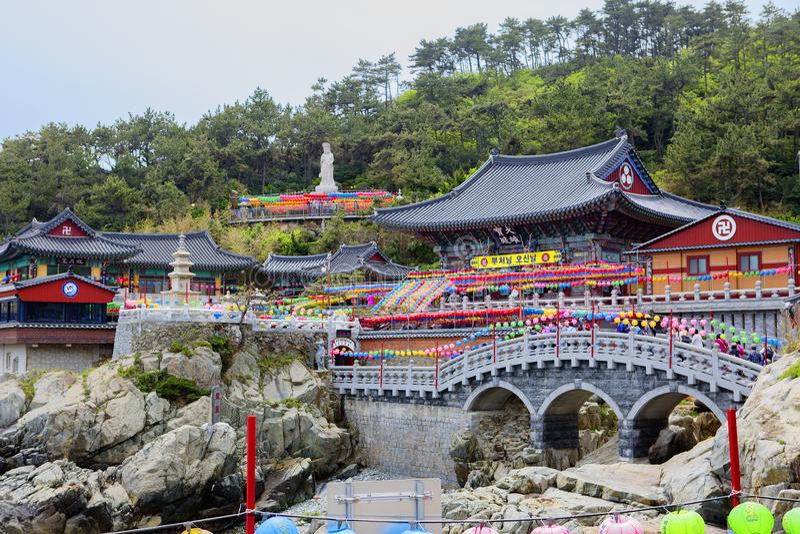 Busan, South Korea, Haedong Yonggungsa Temple. South Korea Buddhist Haedong Yonggungsa Temple is located on a stone cliff of unusual shape above the sea shore stock images