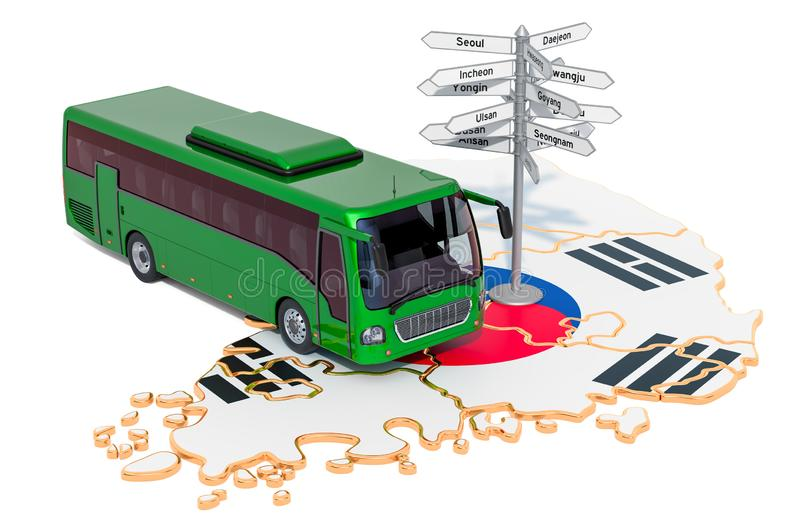 South Korea Bus Tours concept. 3D rendering. Isolated on white background stock illustration