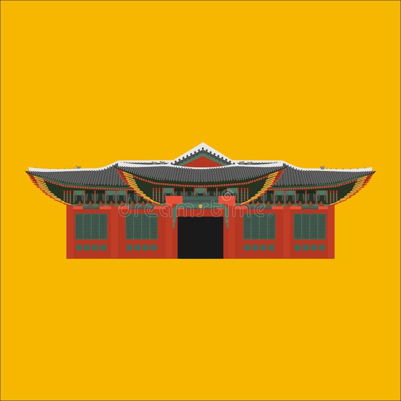 South Korea country design flat cartoon elements. Travel landmark, Seoul tourism place. World vacation travel city sightseeing Asi. A building collection. Asian vector illustration
