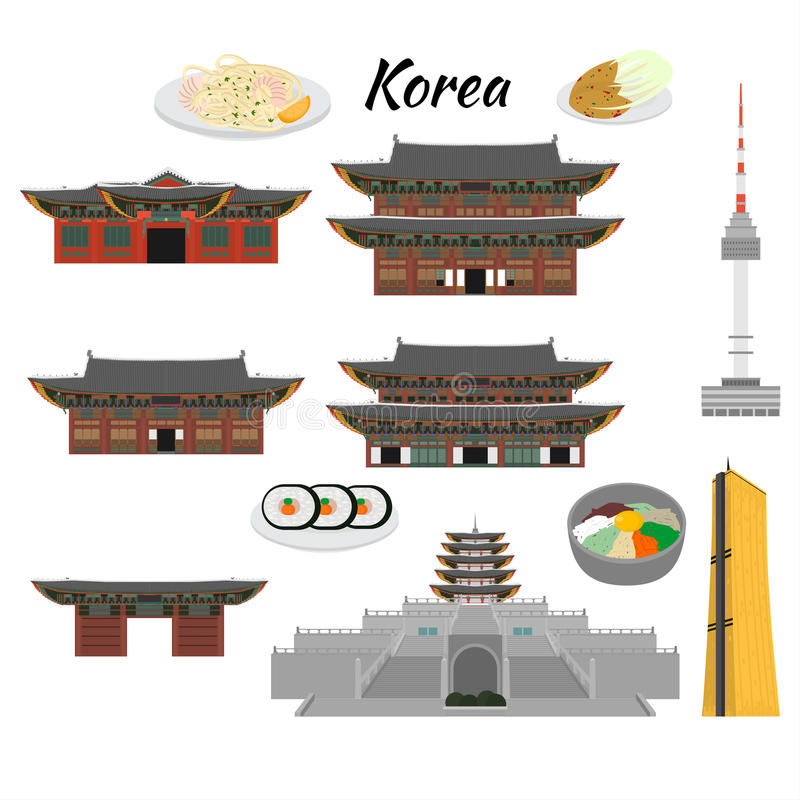 South Korea country design flat cartoon elements. Travel landmark, Seoul tourism place. World vacation travel city sightseeing Asi. A building collection. Asian royalty free illustration