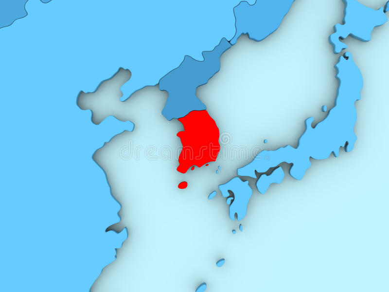 South Korea on 3D map. Country of South Korea highlighted in red on blue map. 3D illustration vector illustration