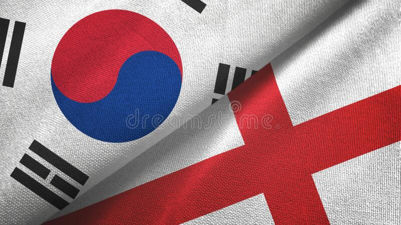 South Korea and England two flags textile cloth, fabric texture. South Korea and England two folded flags together royalty free stock photos