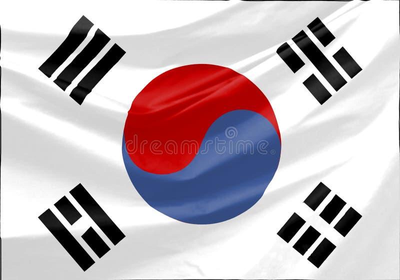 South Korea Flag. Wavy and realistic South Korea Flag