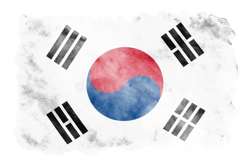 South Korea flag is depicted in liquid watercolor style isolated on white background. Careless paint shading with image of national flag. Independence Day vector illustration
