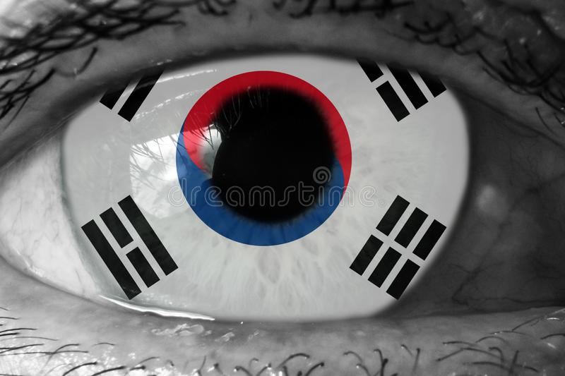 South korea flag in the eye royalty free stock photography