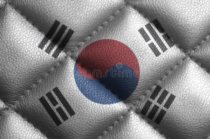 South Korea Flag on leather texture royalty free stock images