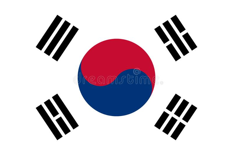 South Korea Flag Made with Official Korean National Colors and Correct Proportions. Korean national symbol. vector illustration