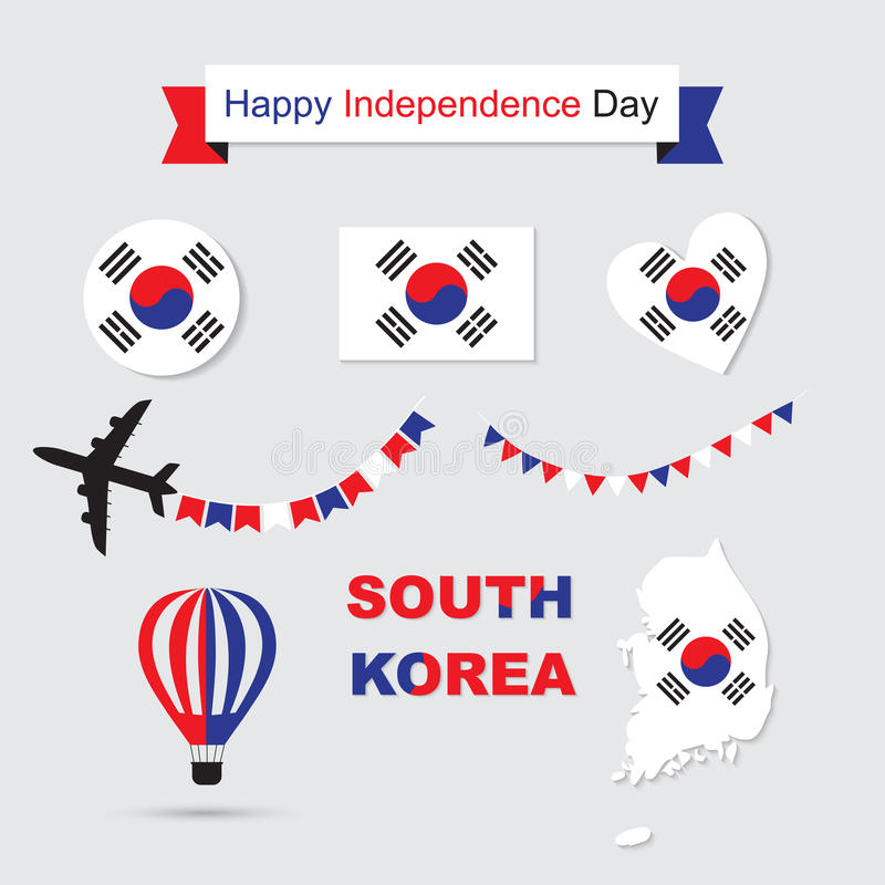 South Korea flag and map icons set. Korean symbols. Independence Day ribbon. Vector Illustration vector illustration
