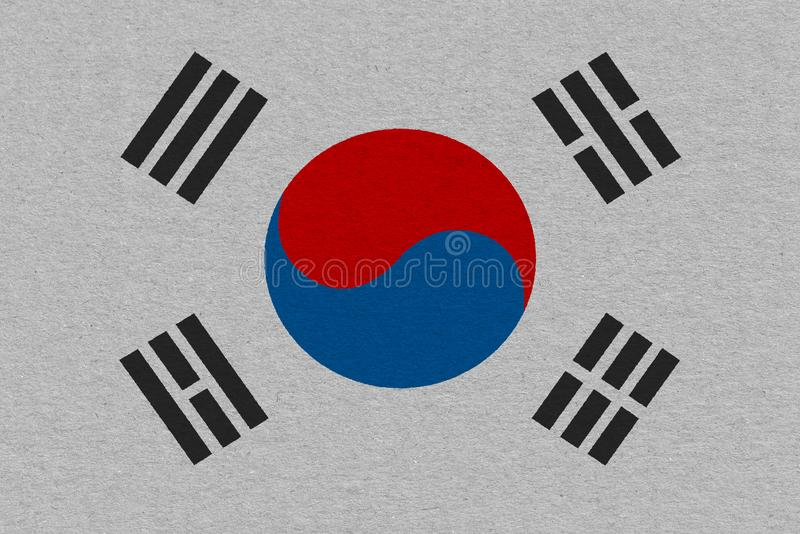South korea flag painted on paper. Patriotic background. National flag of South korea stock images