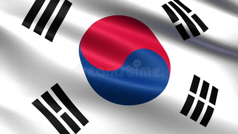 South korea flag, with waving fabric texture stock illustration