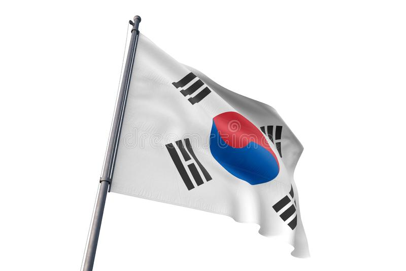 South Korea flag waving isolated white background 3D illustration. South Korea flag waving isolated white background on the wind royalty free illustration
