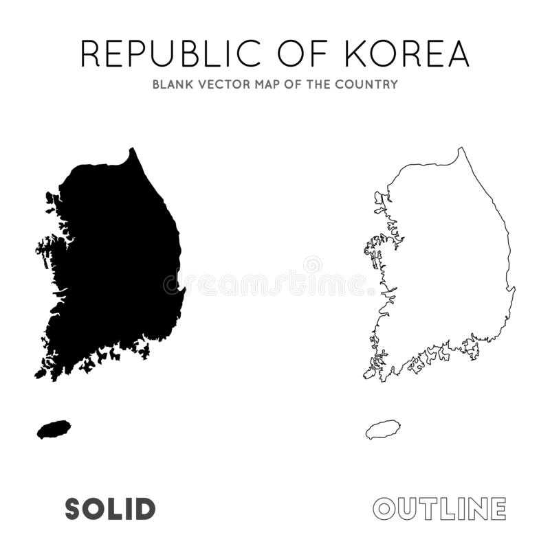 South Korea map. Blank vector map of the Country. Borders of South Korea for your infographic. Vector illustration vector illustration