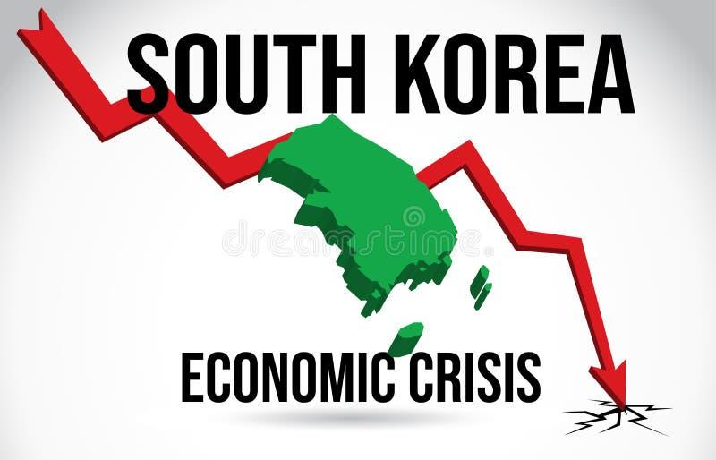 South Korea Map Financial Crisis Economic Collapse Market Crash Global Meltdown Vector. Illustration vector illustration