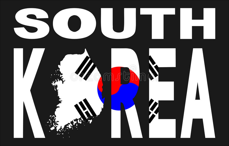 South Korea with map and flag. South Korea text with map and flag illustration royalty free illustration