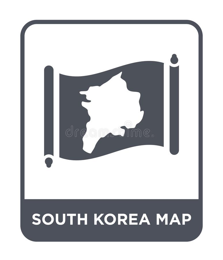 South korea map icon in trendy design style. south korea map icon isolated on white background. south korea map vector icon simple. And modern flat symbol for vector illustration