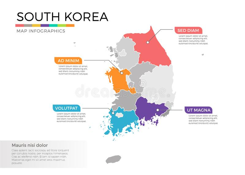 South Korea map infographics vector template with regions and pointer marks. South Korea map info-graphics vector template with regions, districts, state vector illustration