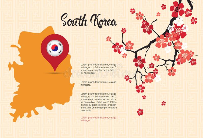 South Korea Map Korean Flag Pointer Beautiful Blossom Of Sakura Branch Decoration Template Banner With Copy Space. Vector Illustration royalty free illustration