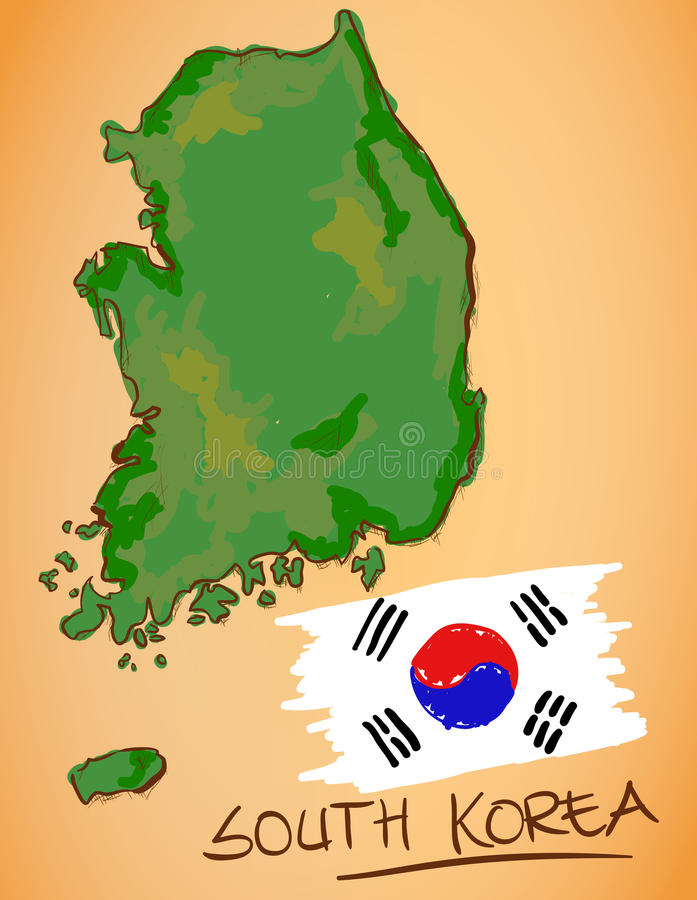 South Korea Map and National Flag Vector. Digital Painting vector illustration