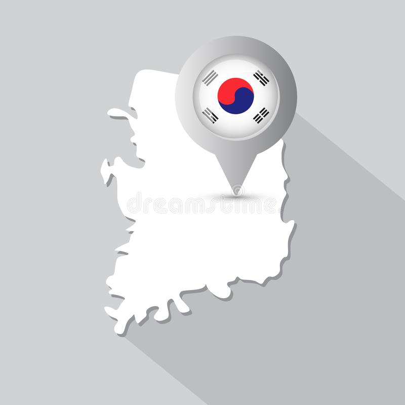 South Korea Map With Pointer Decorated Korean Flag And Long Shadow. Vector Illustration vector illustration