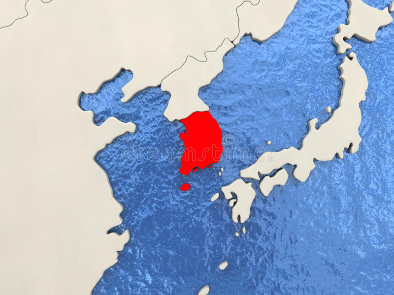 South Korea on map. South Korea in red on political map with watery oceans. 3D illustration royalty free illustration