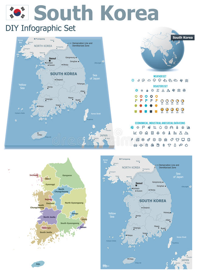 Download South Korea Maps With Markers Stock Vector - Image: 33005717