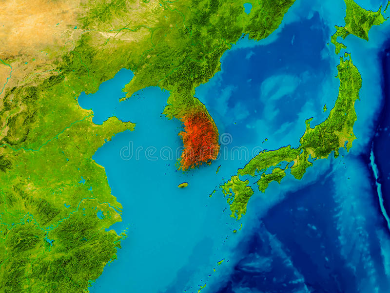 South Korea on physical map. South Korea highlighted in red on physical map. 3D illustration. Elements of this image furnished by NASA royalty free illustration