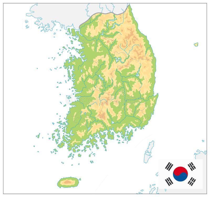 South Korea Physical Map. On White. No text. Vector illustration vector illustration
