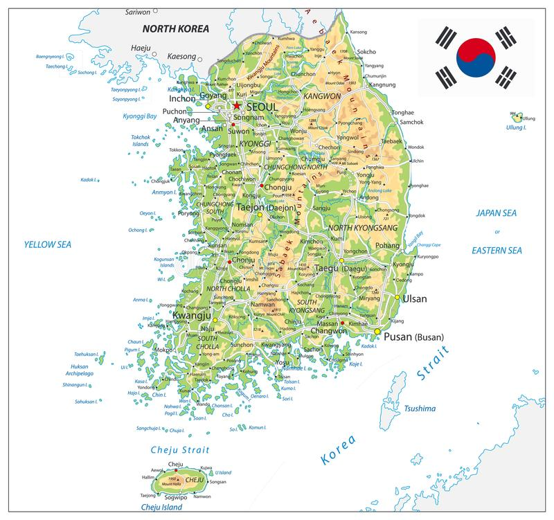 South Korea Physical Map. On White. Vector illustration stock illustration