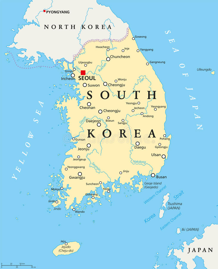 South Korea Political Map. With capital Seoul, national borders, important cities, rivers and lakes. English labeling and scaling. Illustration royalty free illustration