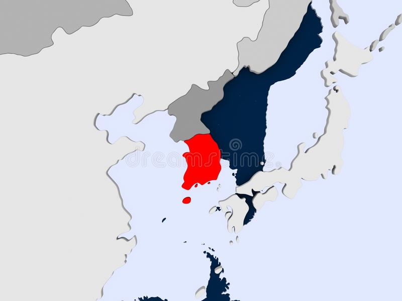 Map of South Korea. South Korea in red on political map with transparent oceans. 3D illustration royalty free stock image