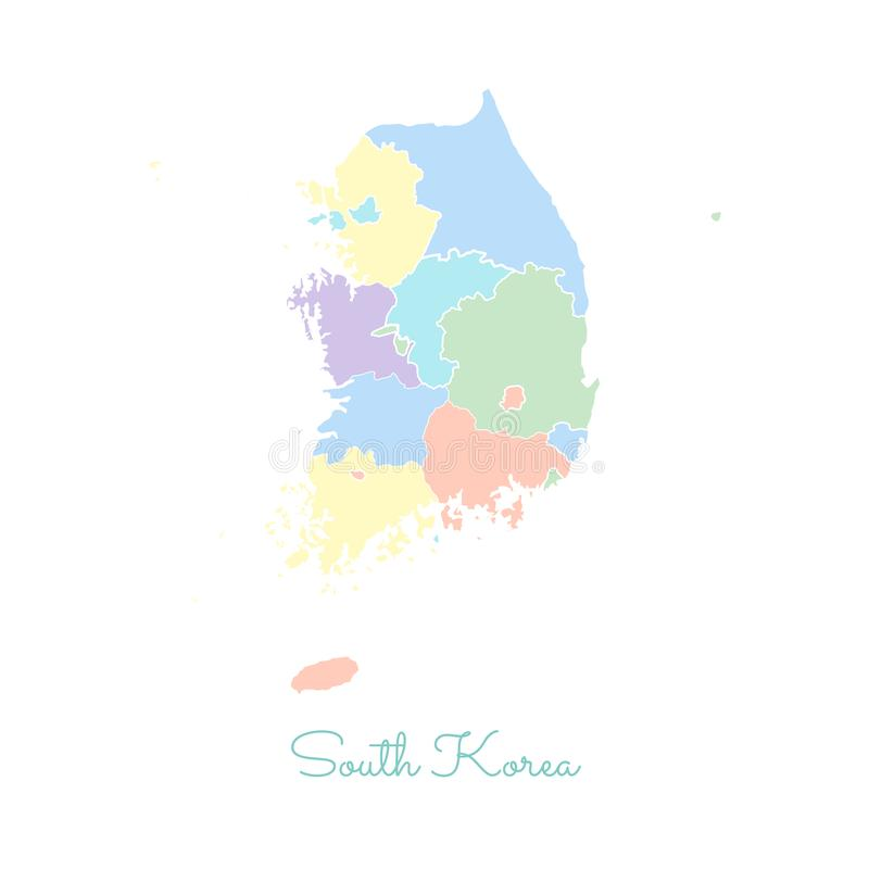 South Korea region map: colorful with white. South Korea region map: colorful with white outline. Detailed map of South Korea regions. Vector illustration vector illustration
