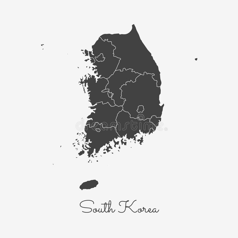 South Korea region map: grey outline on white. South Korea region map: grey outline on white background. Detailed map of South Korea regions. Vector royalty free illustration