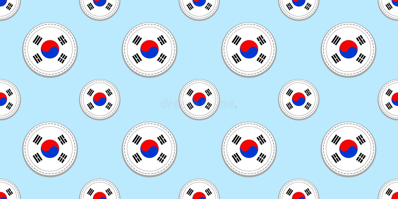 South Korea Round Flag Seamless Pattern South Korean Background