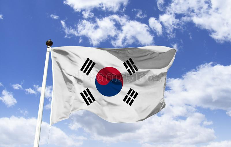 South Korea`s flag, represent the `Absolute`. South Korea`s flag, in the center a circle divided in red and blue, in a blank field, the circle and the four stock photography