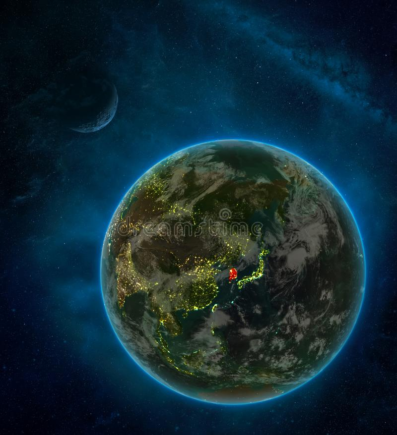 South Korea from space on Earth at night surrounded by space with Moon and Milky Way. Detailed planet with city lights and clouds. 3D illustration. Elements of vector illustration