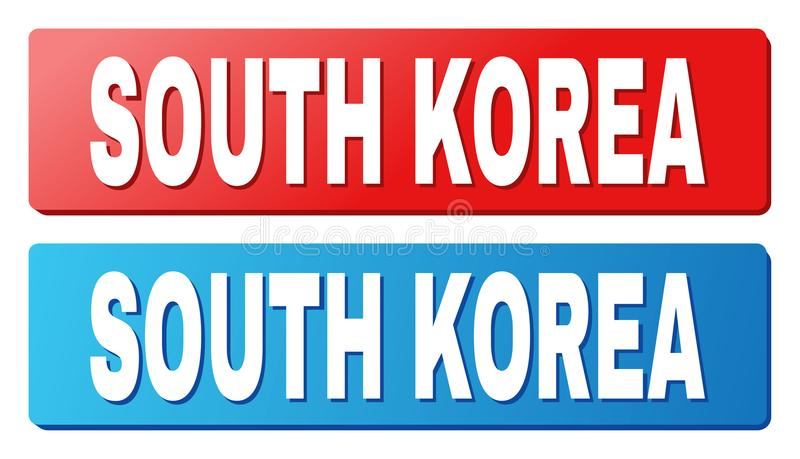 SOUTH KOREA Caption on Blue and Red Rectangle Buttons. SOUTH KOREA text on rounded rectangle buttons. Designed with white caption with shadow and blue and red stock illustration